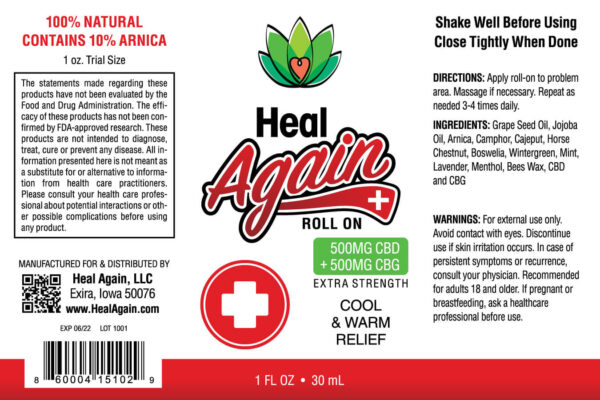 Heal Again Roll-On Applicator Label